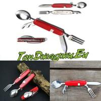 Сгъваем Туристически Нож С Прибори
